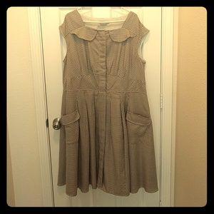 eshakti Dresses - Eshakti Houndstooth print dress in tan